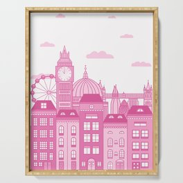 London Skyline Pink Serving Tray
