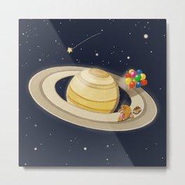 Sloth Happy Ride on Saturn Metal Print