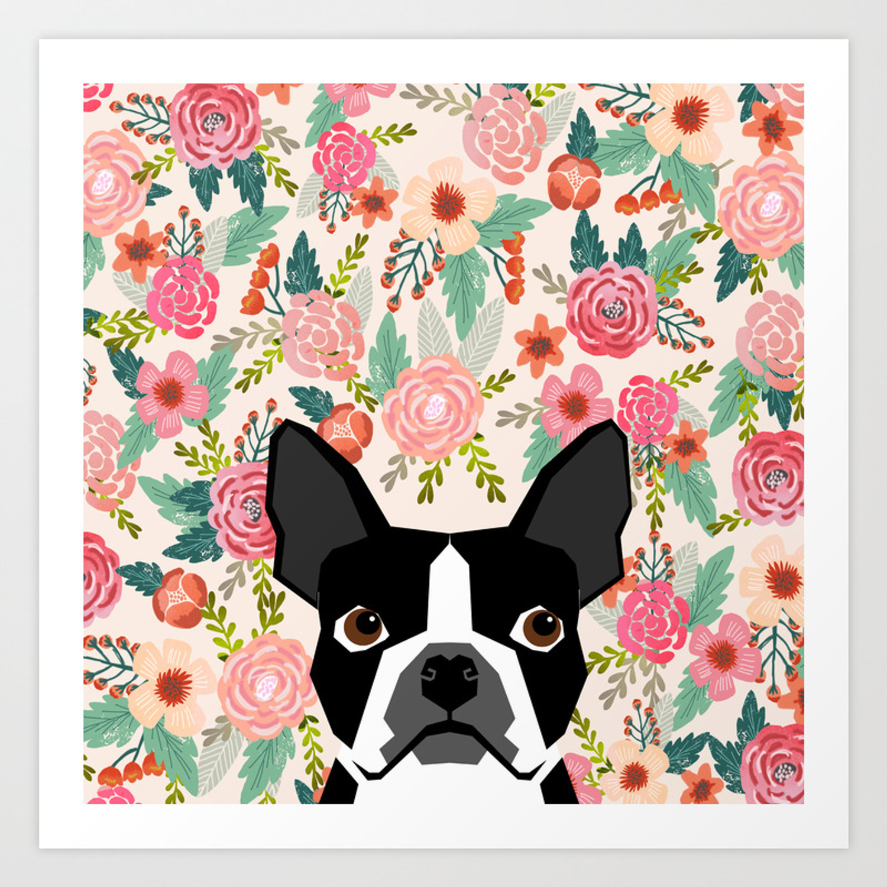 Dog Memorial Gift Personalized Boston Terrier Silhouette Art Print Boston Terrier Gifts
