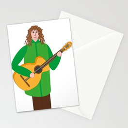 Guitarist in green Stationery Cards