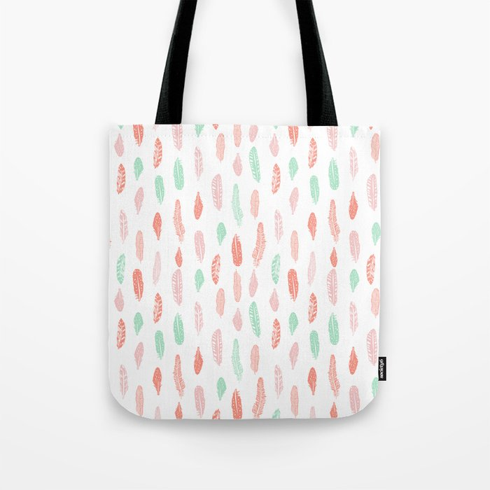 Feather mint pink and white minimal feathers pattern nursery gender neutral boho decor Tote Bag