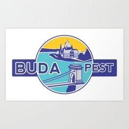 Budapest, Chain Bridge, sticker, blue, yellow Art Print