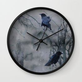 Crows In A Gothic Gray Wash Wall Clock
