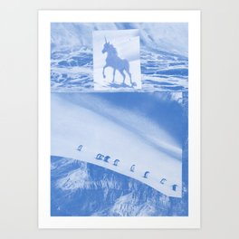 "Unicorn and penguins ""Two Ways To Go"" Art Print"