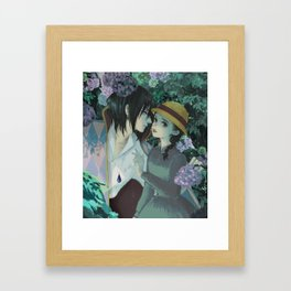 Rain Kiss - Howl and Sophiie Framed Art Print