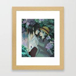 Rain Kiss - Howl and Sophiie Framed Art Print