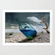 Whale in a bottle Art Print