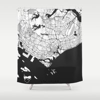 singapore Shower Curtains featuring Singapore Map Gray by City Art Posters
