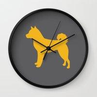 shiba inu Wall Clocks featuring Shiba Inu (on Grey) by Erin Rea