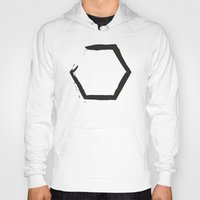hexagon Hoodies featuring White Hexagon by C Designz