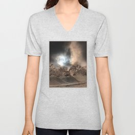 Heavy Duty Earthworks During An Eclipse Unisex V-Neck