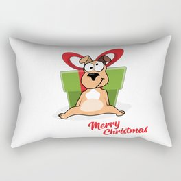 Vector cartoon portrait of funny smiling dog in santa hat with big gift box and hearts isolated on w Rectangular Pillow
