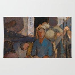 Alvar Cawén - At the Factory [1919], man, blue, dress Rug