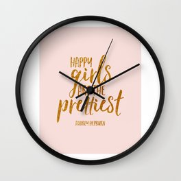 Girls Room Decor Quote,Happy Girls Are The Prettiest,Nursery Girls,Inspirational Quote,Home Decor Wall Clock