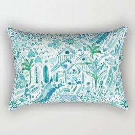 IDEAL BEACH HOUSE Aqua Watercolor Print Rectangular Pillow