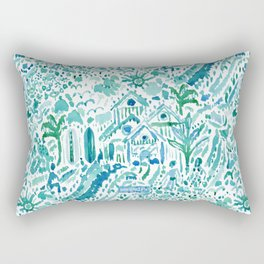 IDEAL BEACH HOUSE Aqua Watercolor Print Rectangular Pillow