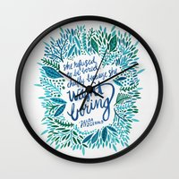 fitzgerald Wall Clocks featuring Zelda Fitzgerald – Blue on White by Cat Coquillette
