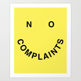 No Complaints Yellow + Black Art Print
