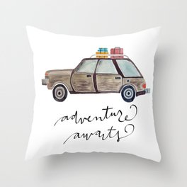 Adventure Awaits.  Watercolor and Typography.  Travel. Adventure Throw Pillow