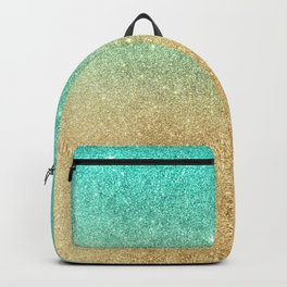 Aqua teal abstract gold ombre glitter Backpack
