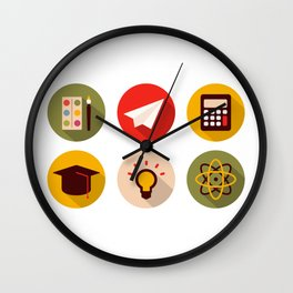 School And Knowledge Wall Clock