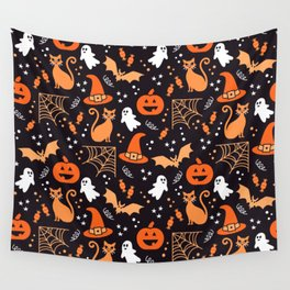 Halloween party illustrations orange, black Wall Tapestry