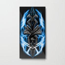 Skull ornament blue Metal Print