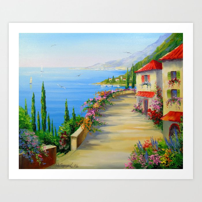 The town by the sea Art Print