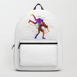 Wrestlers wrestling men 03 in watercolor Backpack