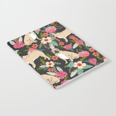 Pugs of spring floral pug dog cute pattern print florals flower garden nature dog park dog person  Notebook