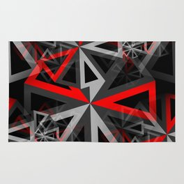 Ferris Wheel Abstract - Black, White, Gray, Red Rug