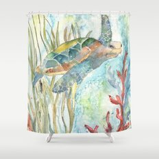Underwater Fantasy Sea Turtle Shower Curtain