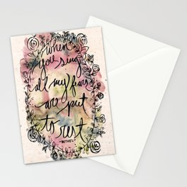 FEAR | Bethel Worship Lyric Print - Watercolor Hand Lettered Script Floral Weath Print  Stationery Cards
