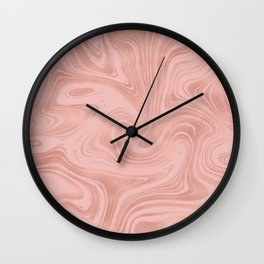 Elegant Rose Gold Pink Metallic with Marble Abstract Pattern Wall Clock