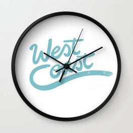 West Coast Surf typography Wall Clock