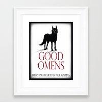 good omens Framed Art Prints featuring Good Omens by RoboCharli
