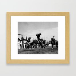 Rodeo Riders at the 1940 Calgary Stampede - Cow-boys de rodéo au Stampede de Calgary de 1940  Framed Art Print