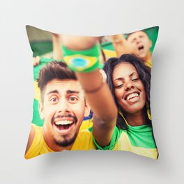 brazilian supporters cheering Throw Pillow