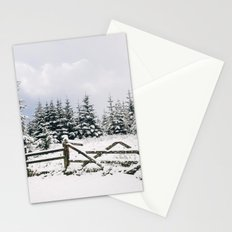 Gate and trees covered in heavy snow. Matterdale End, Cumbria, UK. Stationery Cards