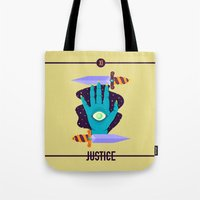 justice league Tote Bags featuring JUSTICE by badOdds