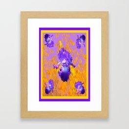 Lilac-Gold Mosaic Purple Irises Pattern Art Framed Art Print