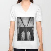 brooklyn bridge V-neck T-shirts featuring Brooklyn Bridge by Nicklas Gustafsson