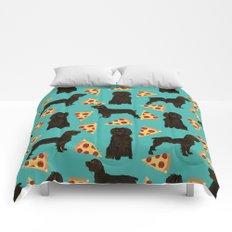 Boykin Spaniel pizza cheesy slice funny dog art pet portrait dog breed custom portraits art Comforters
