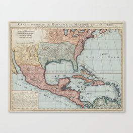 Vintage Map of The Gulf of Mexico (1732) Canvas Print