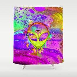 Alien Melt - yellow Shower Curtain