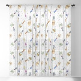 Champagne party - watercolor bottles Sheer Curtain