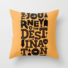Orange Journey Quote Throw Pillow