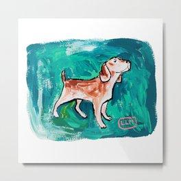 Beagle Dog Painting on Emerald Green Metal Print