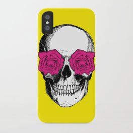 Skull and Roses | Yellow and Pink iPhone Case