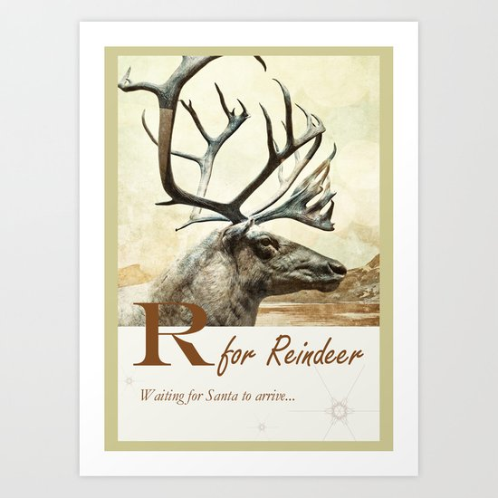R for Reindeer Art Print